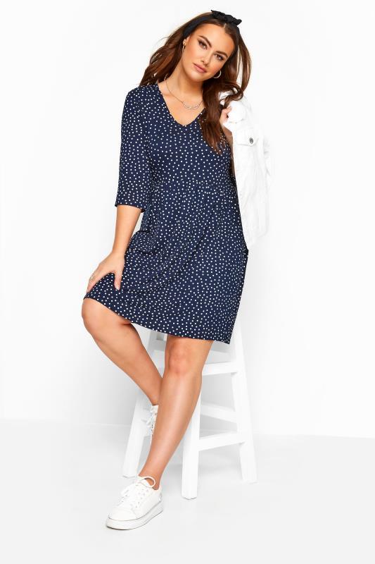 Plus Size Sleeved Dresses Navy Polka Dot Tunic Dress