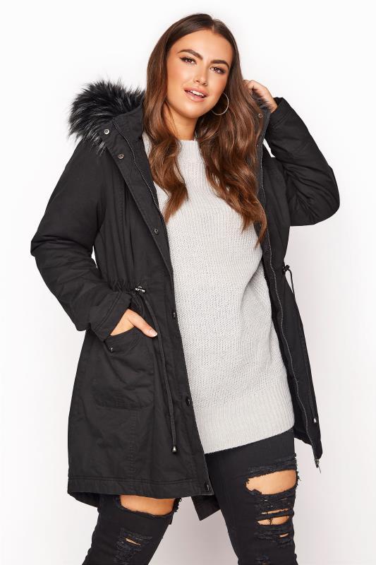 Plus Size  Black Faux Fur Trim Hooded Parka
