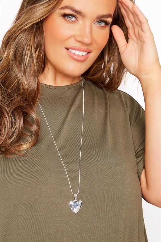 Plus Size  Silver Heart Pendant Necklace