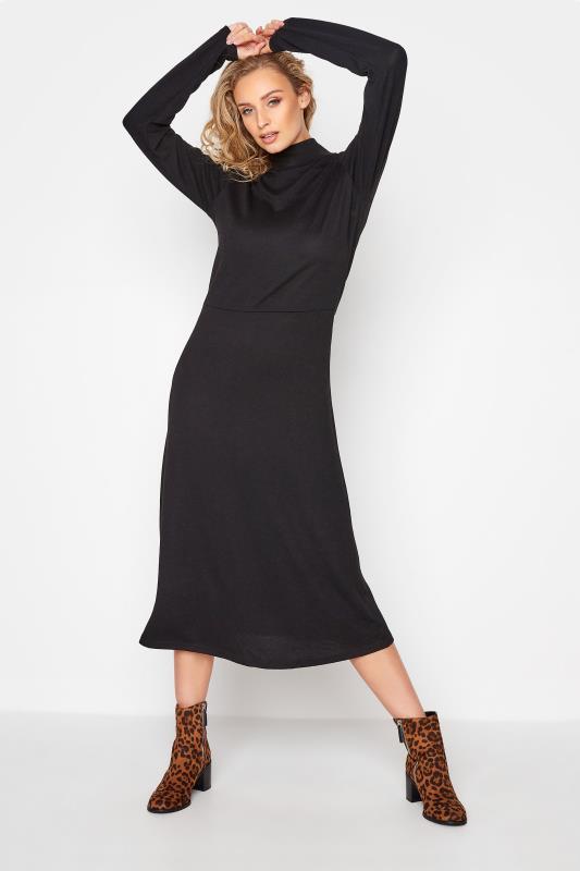 LTS Black Knitted Roll Neck A-Line Midi Dress_A.jpg