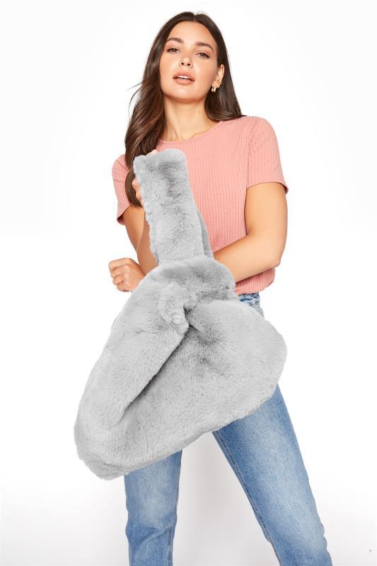 Shoulder Bags Yours Grey Faux Vegan Fur Bag