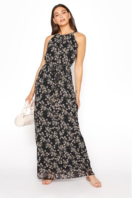 LTS Black Floral Halter Neck Maxi Dress