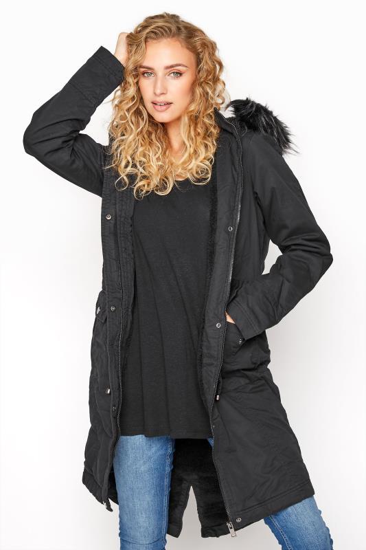 Tall  LTS Black Faux Fur Trim Parka