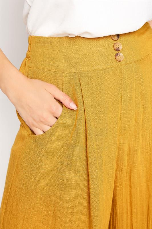 LTS Ochre Yellow Linen Blend Button Pleat Front Culottes_D.jpg