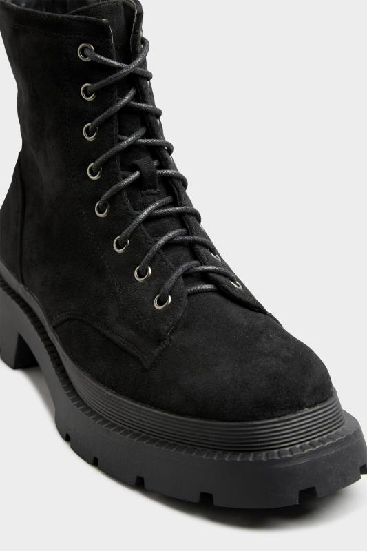 Black Faux Suede Chunky Lace-Up Boot in Regular Fit_E.jpg