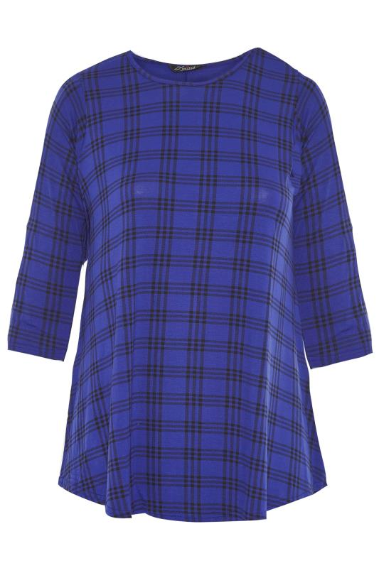 LIMITED COLLECTION Cobalt Blue Check Print Swing Top_F.jpg
