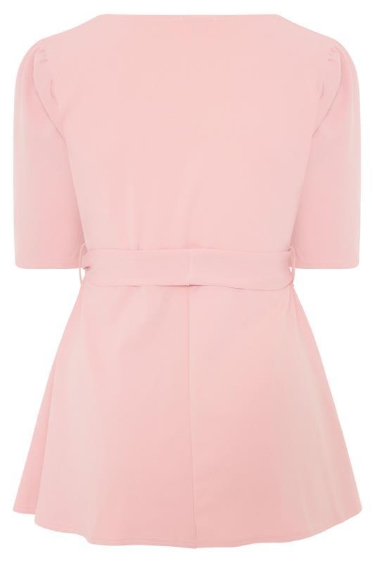 YOURS LONDON Blush Pink Notch Neck Puff Sleeve Peplum Top_BK.jpg