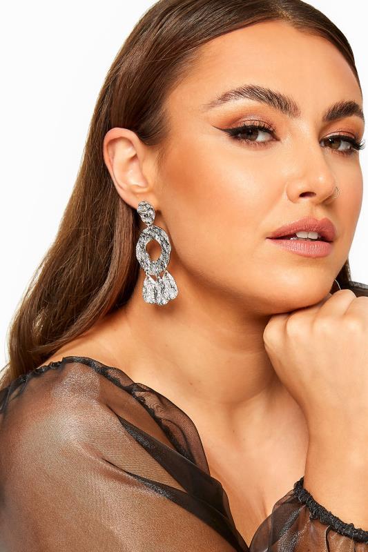 Plus Size  Silver Hammered Triple Drop Earrings