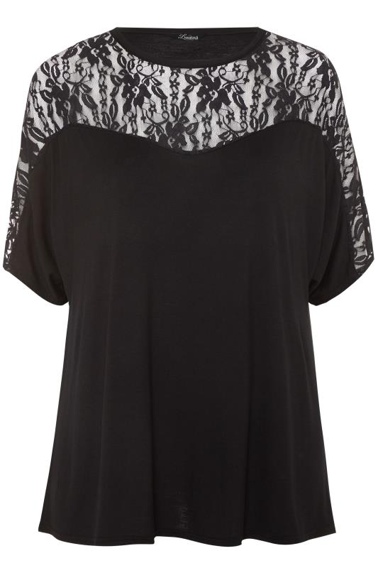 LIMITED COLLECTION Black Lace Insert Batwing Sleeve Top