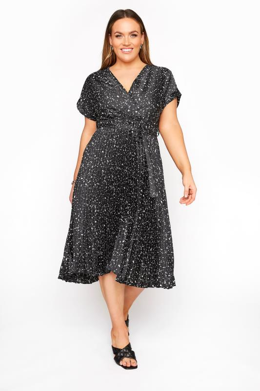 YOURS LONDON Black Satin Abstract Pleated Wrap Dress