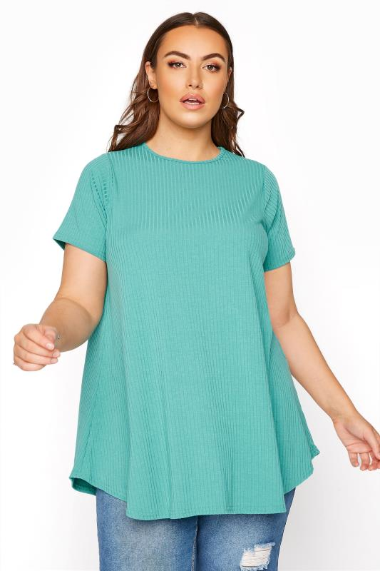 Plus Size  LIMITED COLLECTION Green Ribbed Swing T-Shirt
