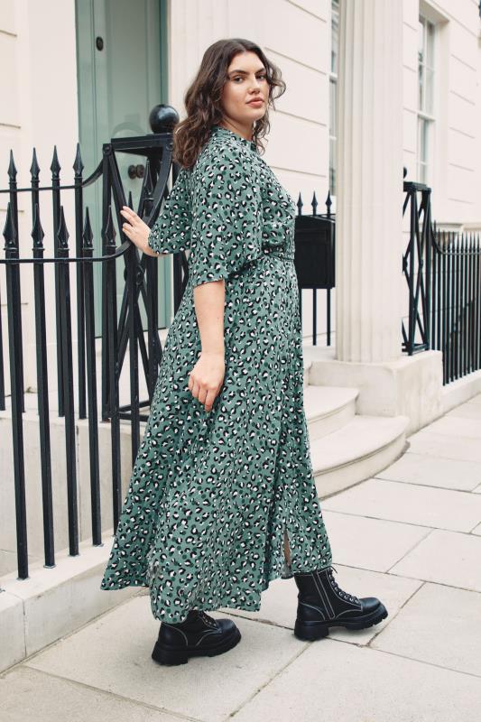 THE LIMITED EDIT Teal Leopard Print Shirt Maxi Dress_L1.jpg