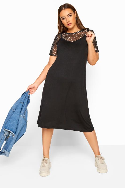 Großen Größen Black Dresses LIMITED COLLECTION 2 in 1 Black Polka Dot Mesh Top Midi Dress