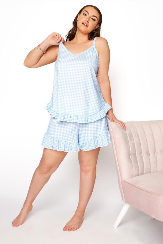 LIMITED COLLECTION Blue Gingham Ribbed Frill Pyjama Top_B.jpg