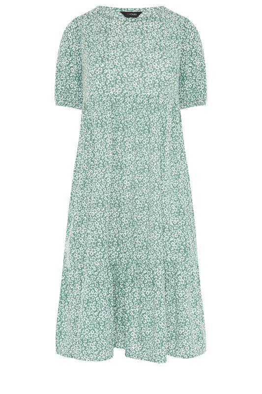 Sage Green Floral Frill Hem Midi Dress_F.jpg