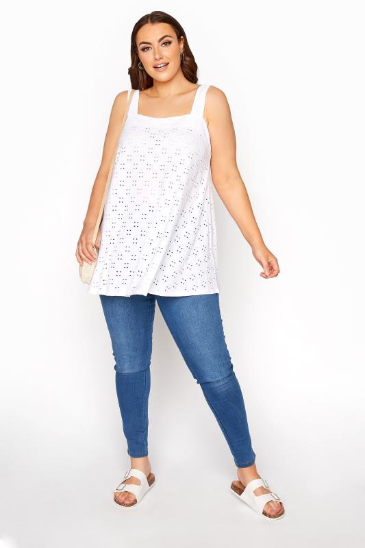 White Broderie Anglaise Vest