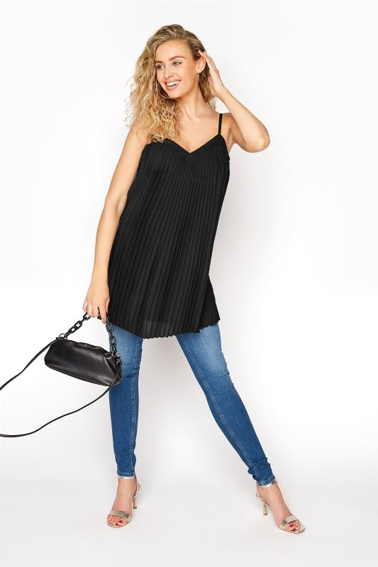 LTS Black Pleated Front Camisole