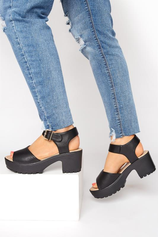Yours Black Chunky Two Part Platform Sandals In Regular Fit