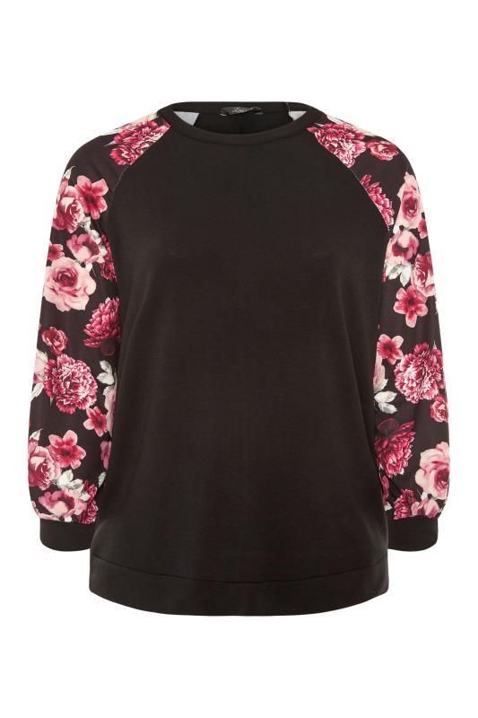 LIMITED COLLECTION Black Floral Raglan Sleeve Sweatshirt_F.jpg