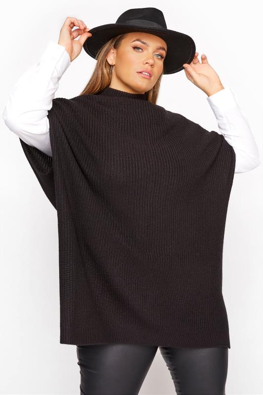 Plus Size  Black Longline Sleeveless Knitted Jumper