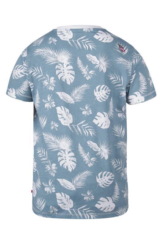 D555 Blue Hawaiian Print T-Shirt