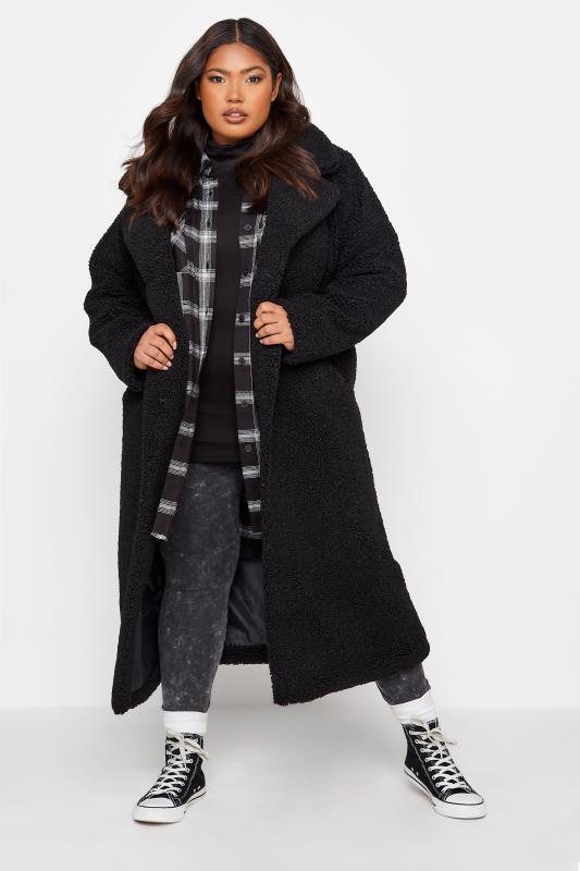 Plus Size  Black Teddy Maxi Coat