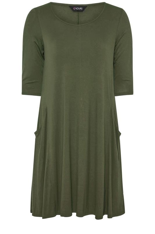 Plus Size  Khaki Drape Pocket Midi Dress