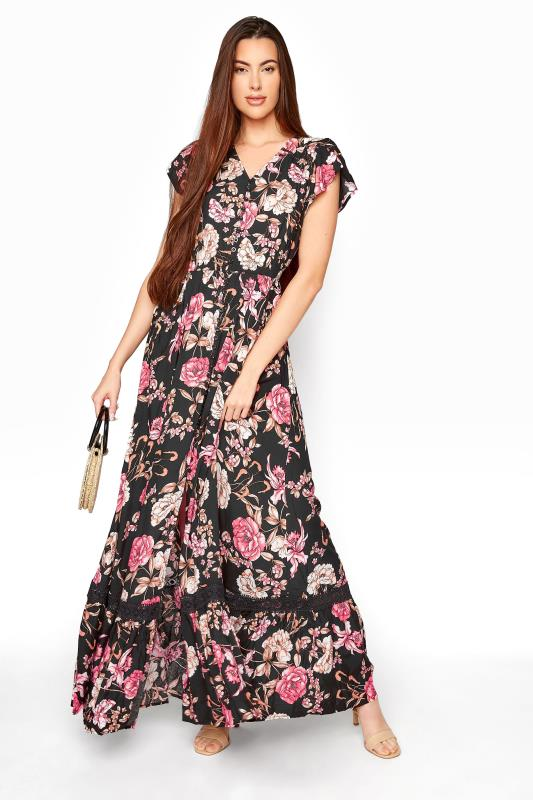 LTS Black Floral V-Neck Frill Hem Maxi Dress_B.jpg