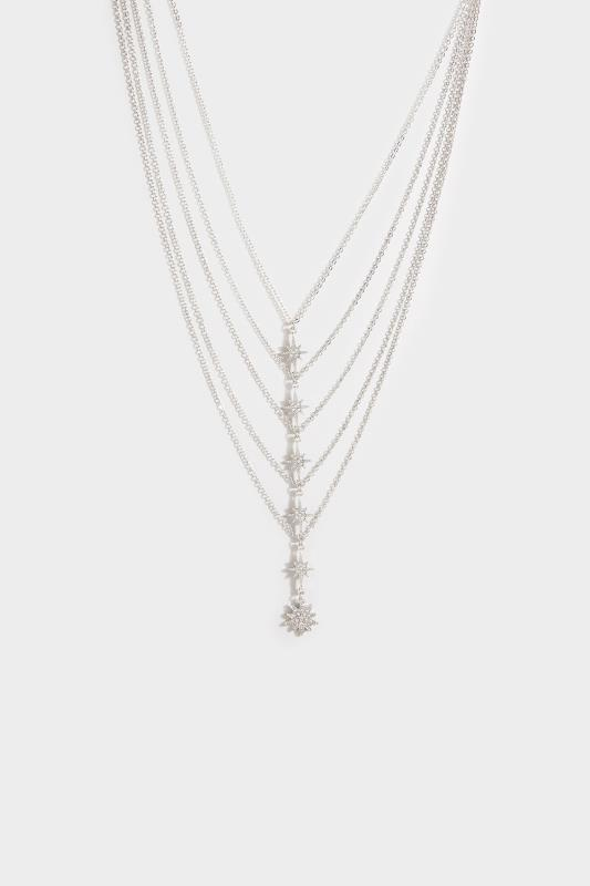 Yours Silver Multi Diamante Star Tiered Necklace
