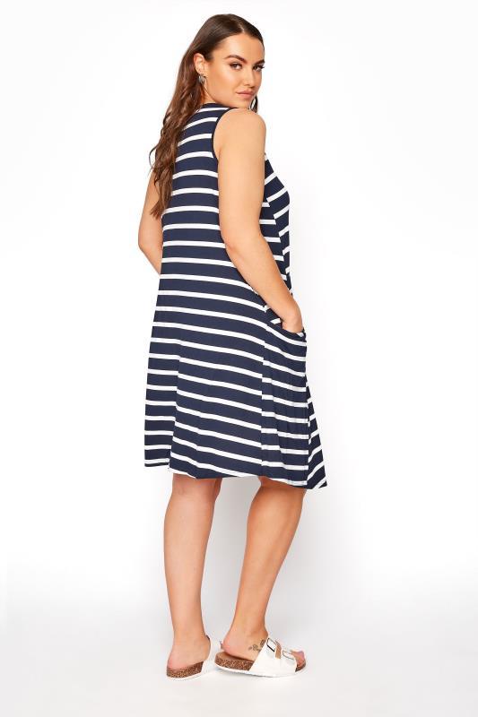 Navy Stripe Drape Pocket Dress_C.jpg