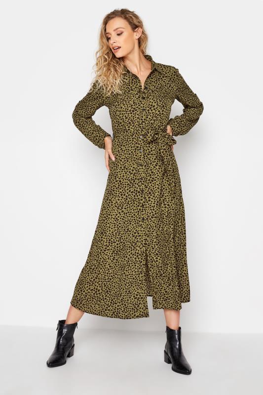 LTS Khaki Animal Print Shirt Midi Dress_B.jpg