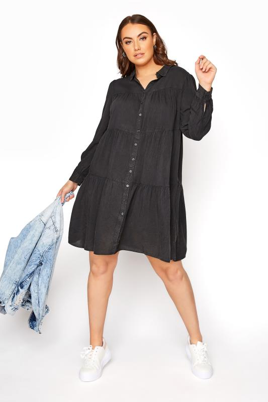 LIMITED COLLECTION Black Washed Denim Look Tiered Shirt Dress_B.jpg