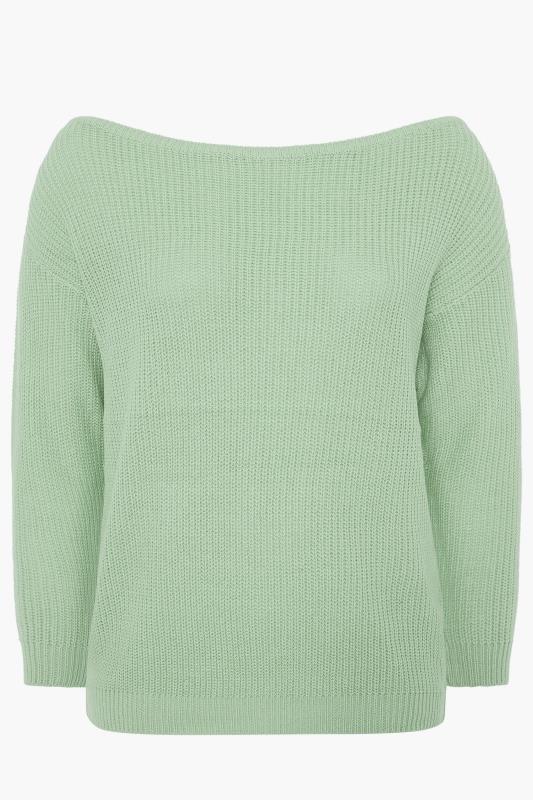 Sage Green Bardot Knitted Jumper