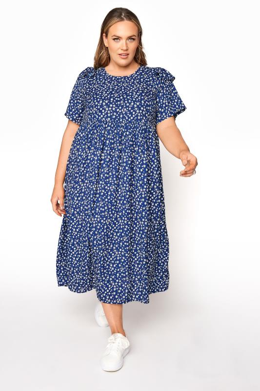 Grande Taille LIMITED COLLECTION Blue Ditsy Frill Shoulder Dress