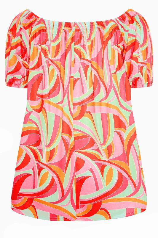 LIMITED COLLECTION Pink Abstract Bardot Top_BK.jpg