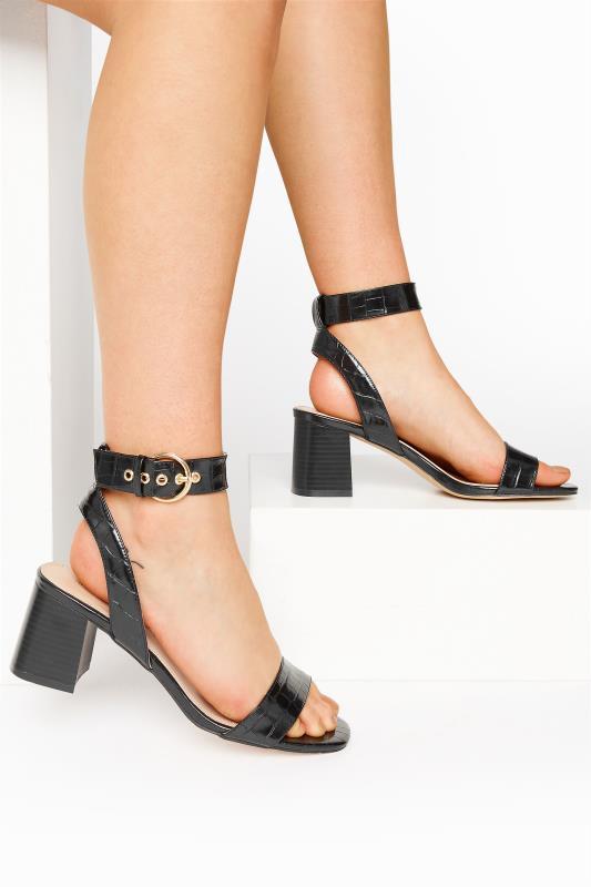 Tall  LTS Black Two Part Block Heel Sandals