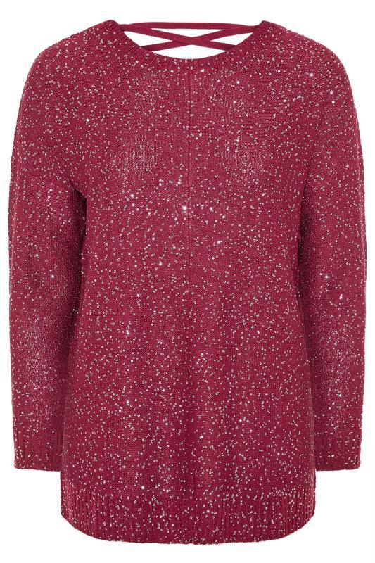 Pink Sequin Lattice Back Knitted Jumper