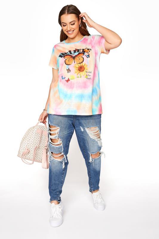 Pink Tie Dye Embellished 'Believe' Print T-Shirt