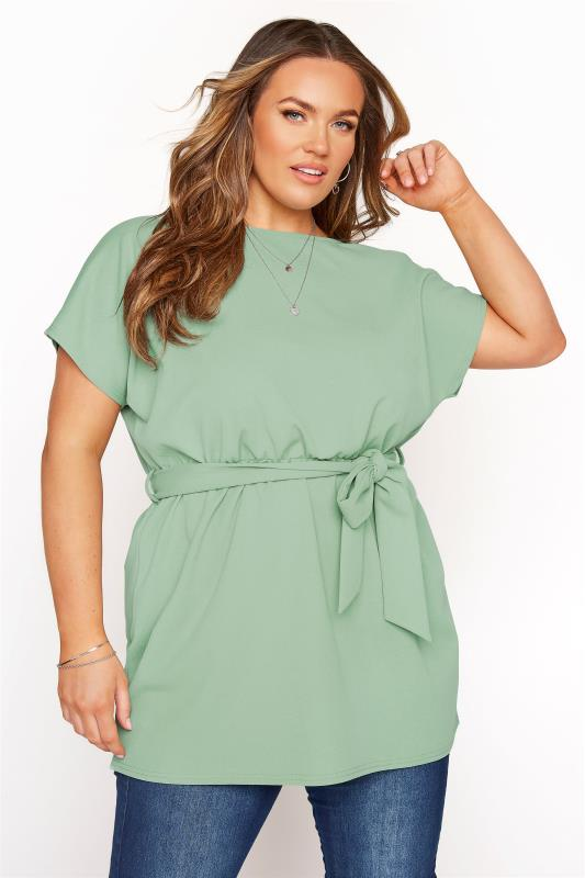 Plus Size  YOURS LONDON Sage Green Batwing Belted Peplum Top