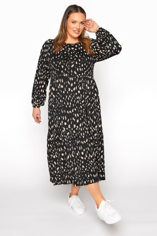 Plus Size  Black Animal Marking Midaxi Dress