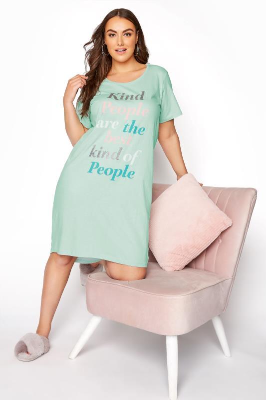 Plus Size  Mint Green 'Kind People' Dip Back Nightdress