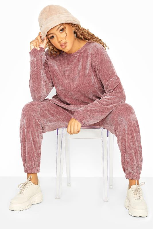 Plus Size  Pink Chenille Co-ord Joggers