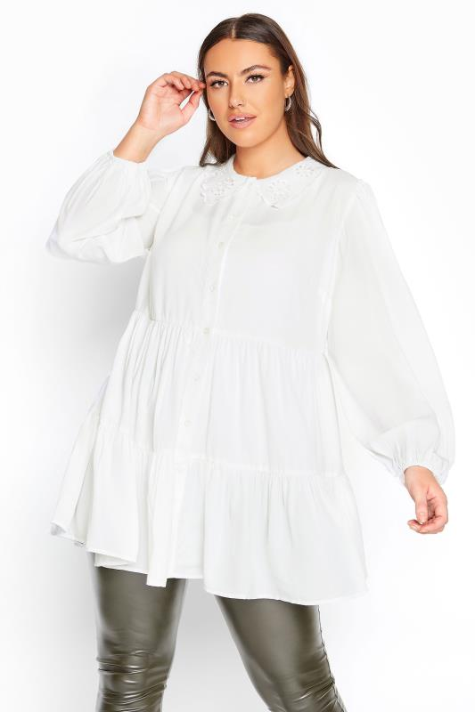 Plus Size  LIMITED COLLECTION White Embroidered Collar Tiered Hem Blouse