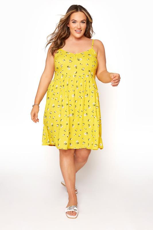 Plus Size  Yellow Floral Strappy Dress