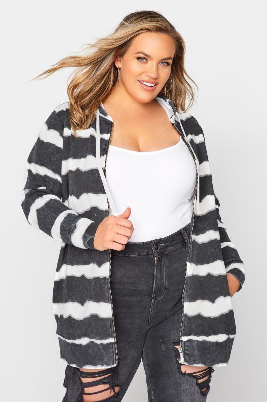 Plus Size  Black Stripe Zip Through Hoodie