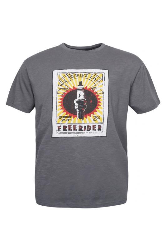 Großen Größen  REPLIKA Grey Print T-Shirt