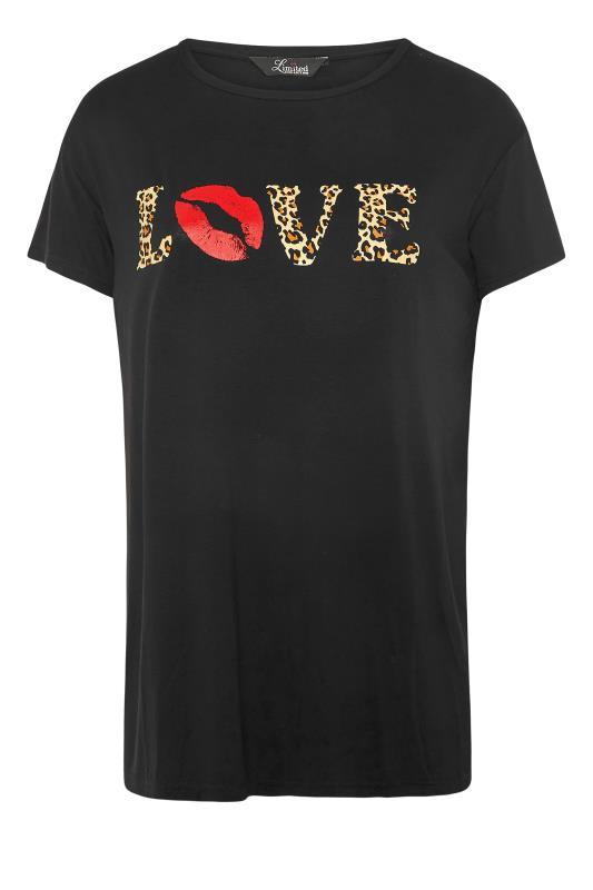 LIMITED COLLECTION Black Animal Print 'Love' Slogan T-Shirt_F.jpg