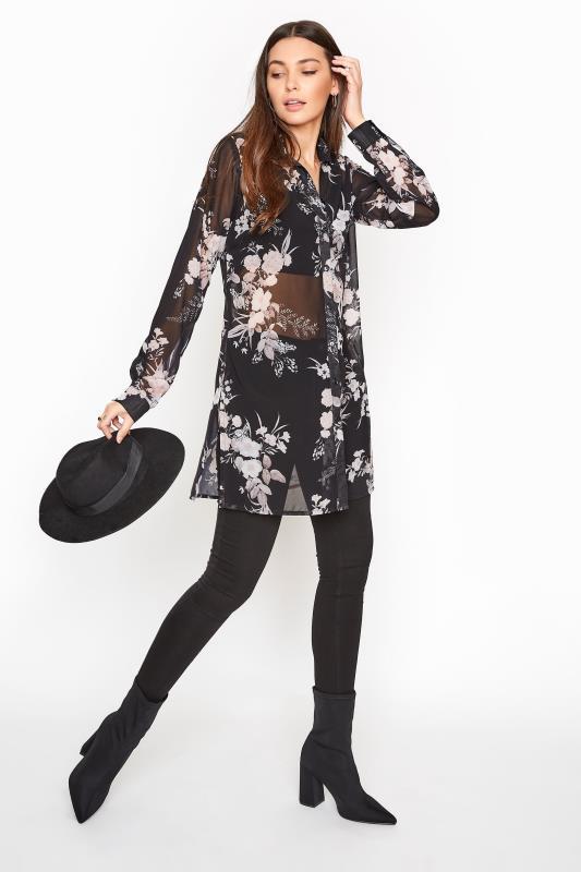 LTS Black Floral Longline Chiffon Shirt