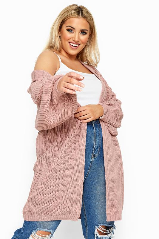 Plus Size Cardigans Pink Oversized Balloon Sleeve Knitted Cardigan