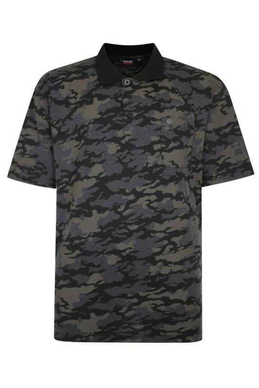 Plus Size  ESPIONAGE Grey Camo Print Polo Shirt